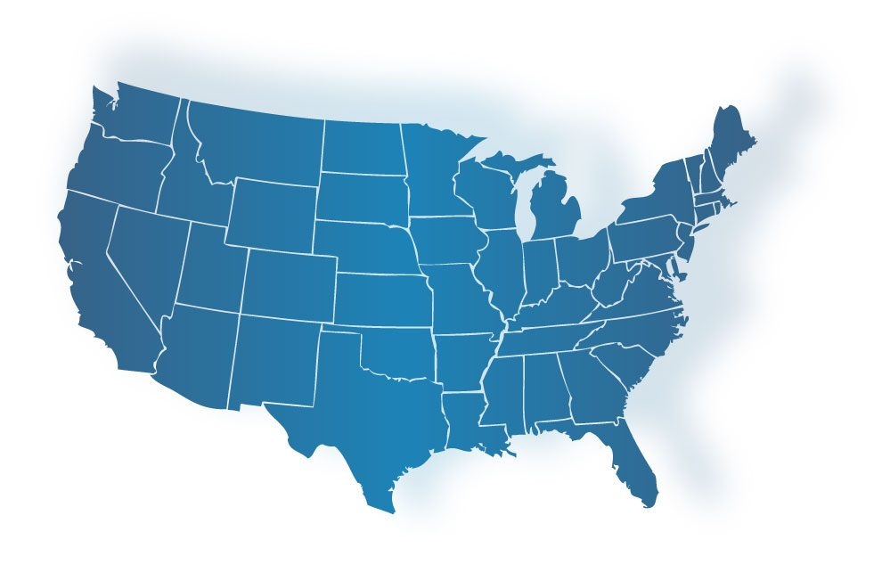 Map of the united states where iData Research provides procedural data, book of business, and market analysis for medical device companies through the Total Sales Solution service.